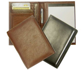 open and closed views of leather wallet journals, in black and tan