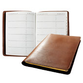 tan leather sewn address book