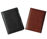 brown and black leather mini journals