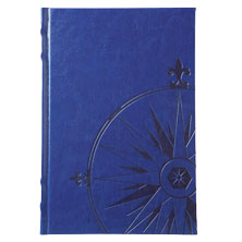 blue embossed faux leather journal